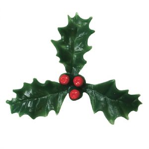Plastic Holly with Red Berry - 50mm